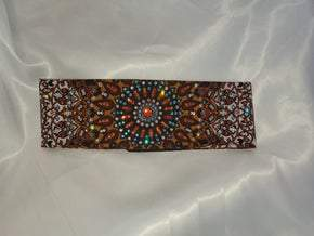 LeeAnnette Mustard Colored Bandana With Turquoise, Fire Opal Orange and Clear Swarovski Crystals (Sku4026)