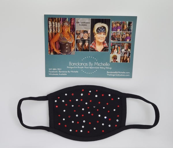 Black Face Mask with Red and Diamond Clear Swarovski Crystals *Final Sale* (Sku5920)
