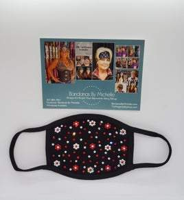 Black Face Masks EXTRA BLING Floral Pattern Red and Clear Crystals *Final Sale* (Sku5906)