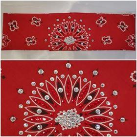 Red Paisley with Red and Diamond Clear Swarovski Crystals (Sku2105)