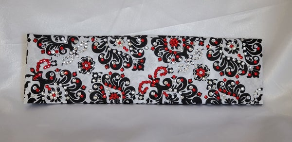 LeeAnnette Black and White Primrose with Red and Diamond Clear Swarovski Crystals (Sku4054)