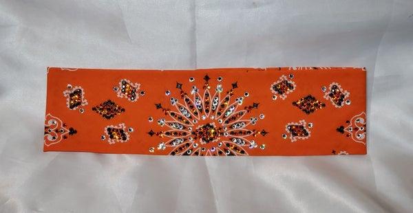 LeeAnnette Orange Paisley with Black, Orange and Diamond Clear Swarovski Crystals (Sku4219)