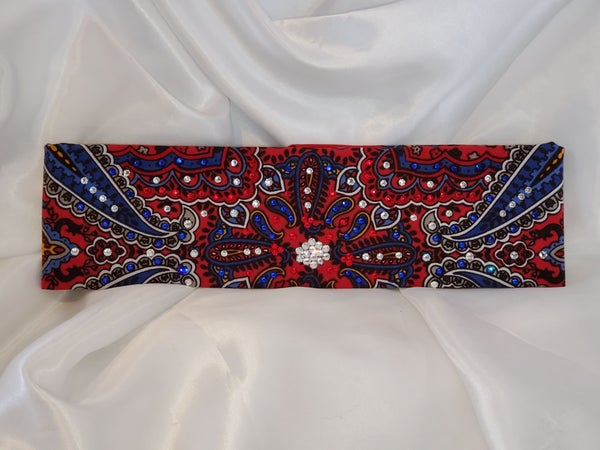 Red Indian Style Bandana with Red, Blue and Diamond Clear Swarovski crystals (Sku1203)