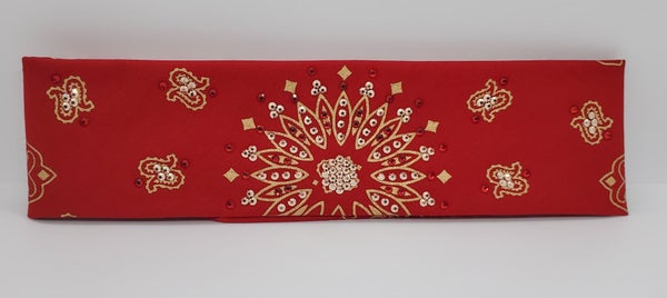 Gold Paisley on Red with Red and Rose Gold Swarovski Crystals (Sku2046)