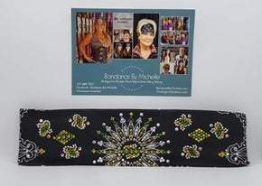 LeeAnnette Black Paisley with Yellow, Green and Diamond Clear Swarovski Crystals (Sku4364)