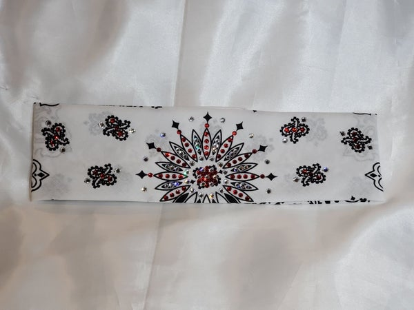 White Paisley with Red and Diamond Clear Swarovski Crystals (Sku2007)