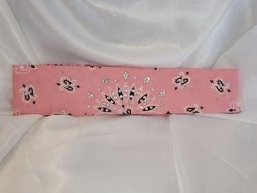 Bargain Bandana Narrow Light Pink with Diamond Clear Crystals (Sku80300