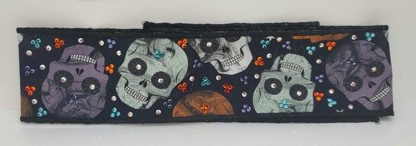 Halloween Skulls Headband Strip with Turquoise, Lavender, Fire Opal and Aurora Borealis Swarovski Crystals (Sku5552)