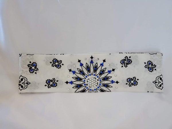 White Paisley with Blue and Diamond Clear Swarovski Crystals (Sku2025)