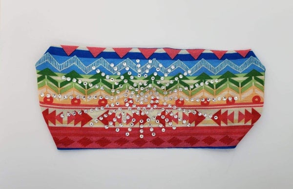 Stretchy Southwestern Print Headband with Clear Crystals (Sku5116)