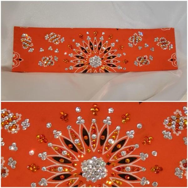 Orange LeeAnnette style bandana with fire opal orange and diamond clear Swarovski crystals (Sku4223)