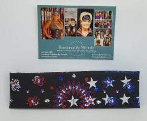 Black Stars and Stripes Paisley with Red, Blue and Diamond Clear Swarovski Crystals (Sku2440)