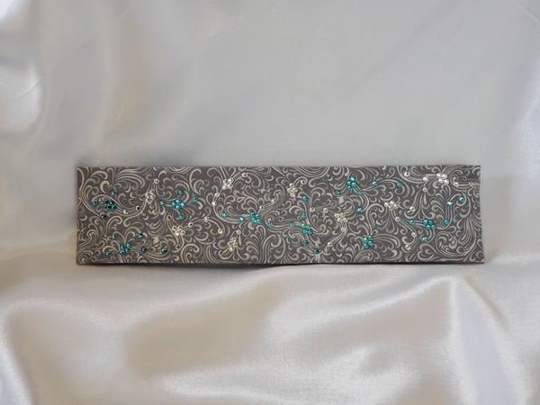 Narrow Gray Scroll with Turquoise and Diamond Clear Swarovski Crystals (Sku1831)