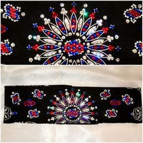 LeeAnnette Black Paisley with Red, Blue and Diamond Clear Swarovski Crystals (Sku45222)