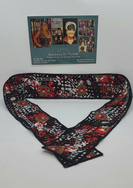 Marines Headband Strip with Red and Diamond Clear Swarovski Crystals (Sku5547)