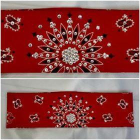 Red Paisley with Diamond Clear Swarovski Crystals (Sku2104)