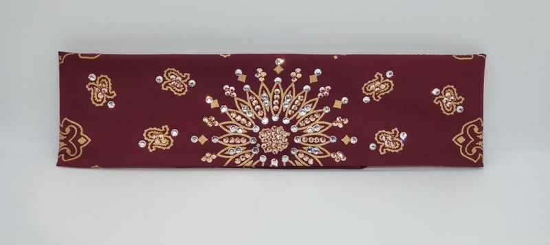 Gold Paisley on Maroon with Rose Gold and Diamond Clear Swarovski Crystals (Sku2490)