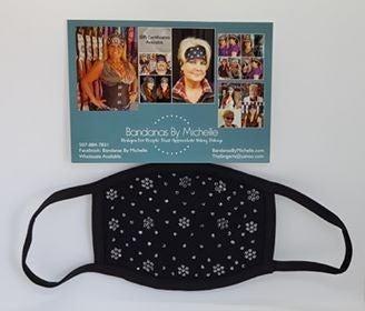 Black Face Mask with EXTRA BLING Black Swarovski Crystals *Final Sale* (Sku5903)