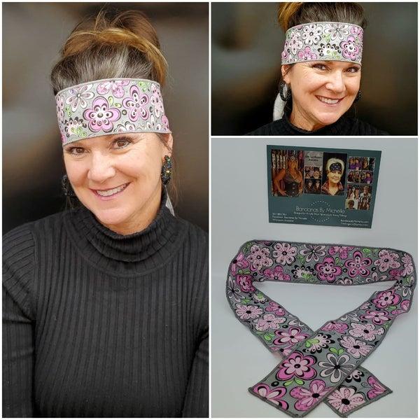 Pink Flowers on Gray Headband Strip with Black, Pink, Green and Diamond Clear Swarovski Crystals (Sku5506)