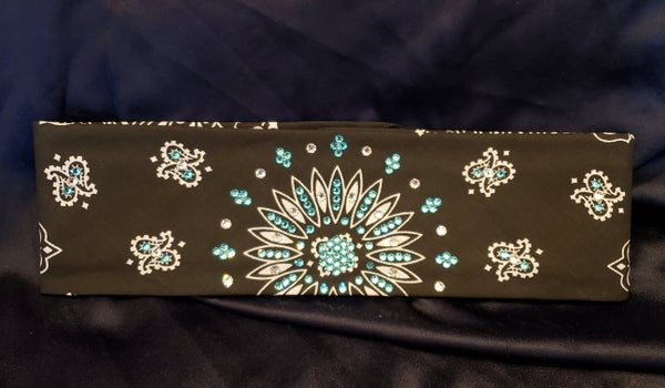 Black Paisley with Turquoise and Diamond Clear Swarovski Crystals (Sku1903)