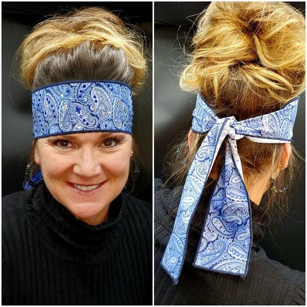 Royal Blue Paisley Headband Strip with Blue and Diamond Clear Swarovski Crystals (Sku5509)
