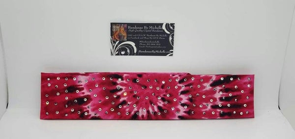 Narrow Pink and Black Tie Dye with Black and Diamond Clear Austrian Crystals (Sku6015)