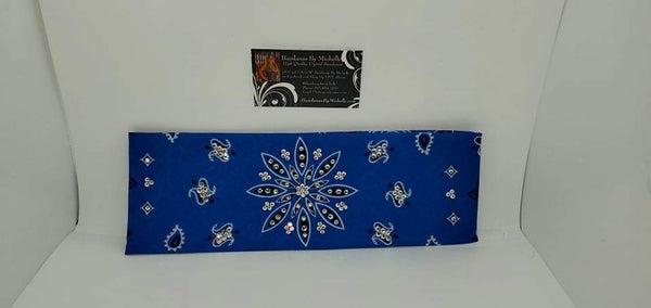 Royal Blue Large Flower Paisley with Aurora Borealis and Diamond Clear Swarovski Crystals (Sku2493)