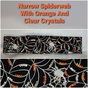 Narrow Spider and Webs with Orange and Clear Swarovski Crystals (Sku9805)