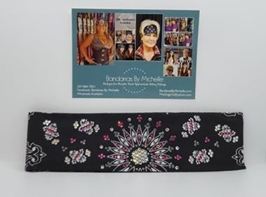 LeeAnnette Black Paisley with Pink, Black and Diamond Clear Swarovski Crystals (Sku4463)