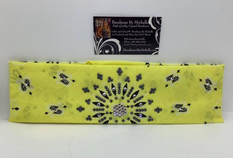 Bright Yellow Paisley with Black and Diamond Clear Swarovski Crystals (Sku2505)