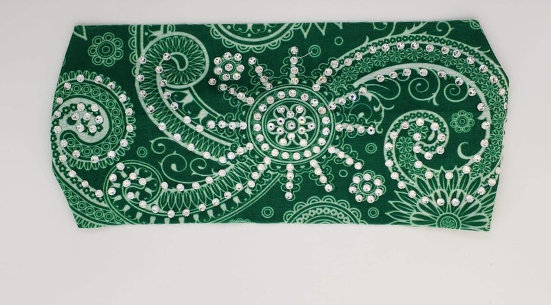 Stretchy Green Headband with Clear Crystals (Sku5108)