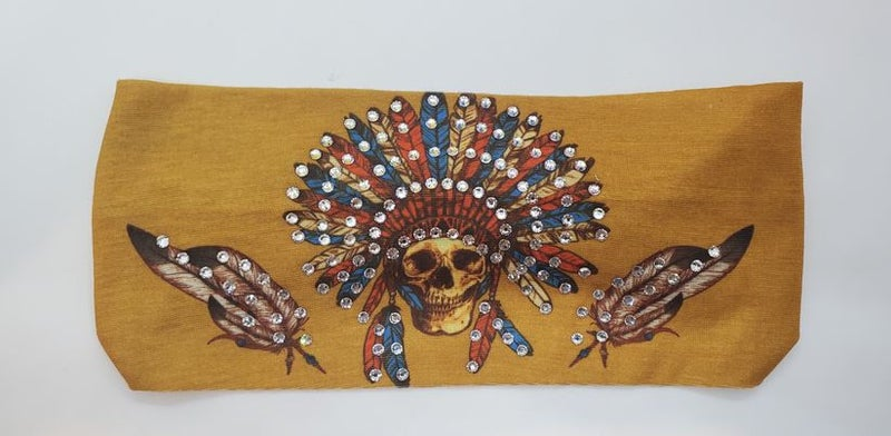 Mustard Indian Stretchy Headband with Clear Crystal Rhinestones (Sku5090)