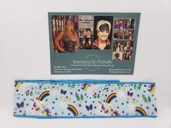 Rainbows and Unicorns Headband Strips with Multi-Colors of Swarovski Crystals (Sku5504)