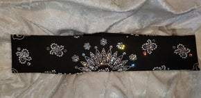Narrow Black Paisley with Diamond Clear Swarovski Crystals (Sku2056)