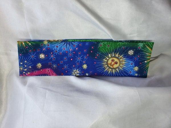 Tie-dyed Sun with Fuchsia and Diamond Clear Swarovski Crystals  (Sku9040)