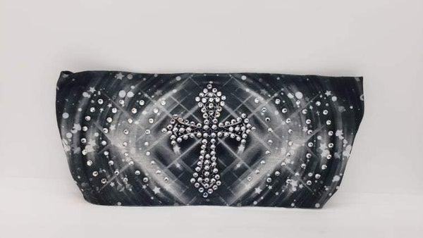 Stretchy Headband Cross on Grey with Clear Crystals (Sku5129)