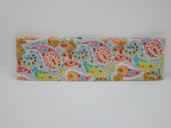 LeeAnnette Bright Paisley on Grey with Multi-Colors of Swarovski Crystals (Sku4447)