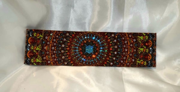 Narrow Grateful Dead with Turquoise Swarovski Crystal Center