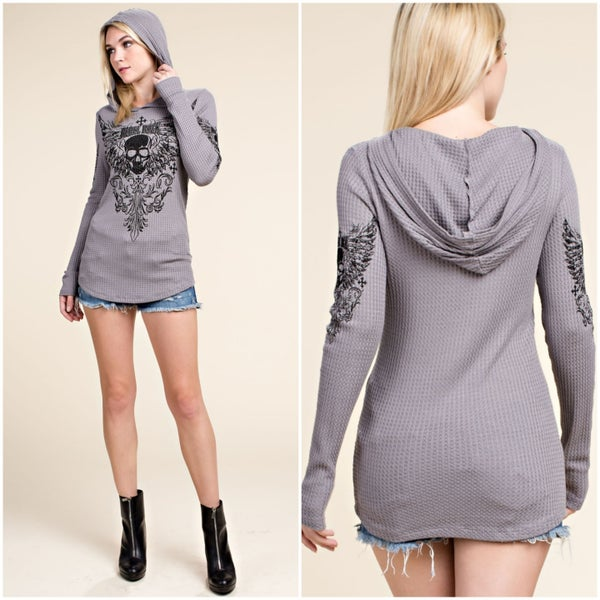 Mocha Long Sleeve Hooded Shirt Rebel Rock and Skull with Stones