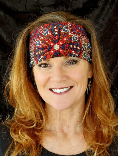 Red Indian Bandana with Clear and Red Swarovski Crystals (Sku1202)