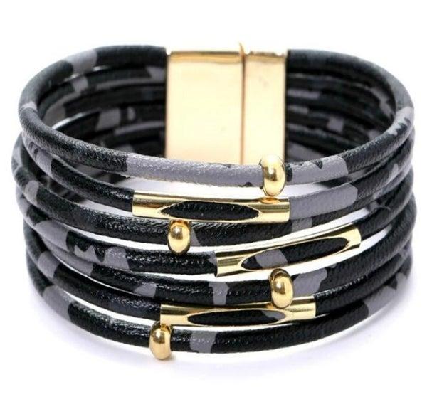 Black Leopard Leather Bracelet (Sku8011)