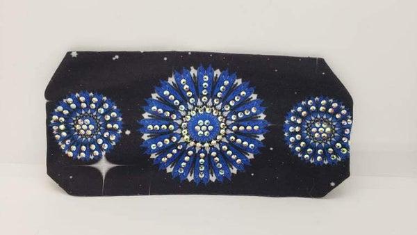 Stretchy Headband Blue Flowers with Aurora Borealis Crystals (Sku5127)