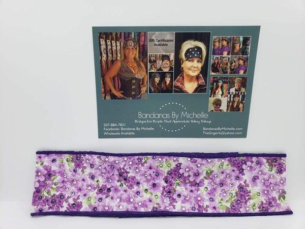 Lilac Headband Strip with Lavender, Light Green and Diamond Clear Swarovski Crystals (Sku5500)