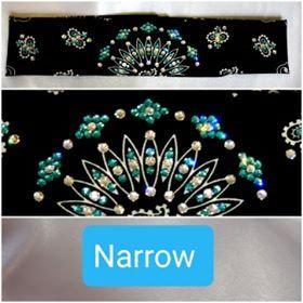 Narrow Black Paisley with Turquoise and Diamond Clear Swarovski Crystals (Sku2088)