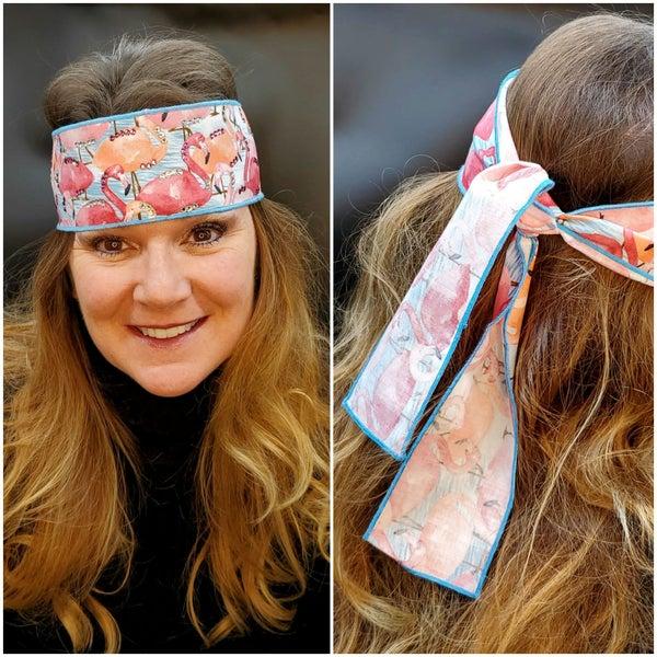 Flamingo Headband Strip with Pink and Diamond Clear Swarovski Crystals (Sku5510)