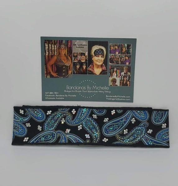 Purple/Blue Paisley Headband Strip with Turquoise and Aurora Borealis Swarovski Crystals (Sku5546)