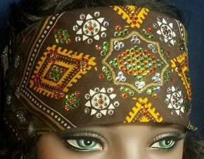 LeeAnnette Brown Aztec with Light Green, Orange and Diamond Clear Swarovski Crystals(Sku4880)