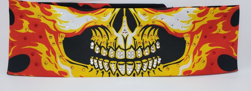 Yellow Flame Skull Teeth with Swarovski Crystals (Sku1005)