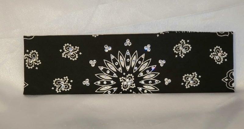 Bargain Bandana Black with Diamond Clear Crystals (Sku8101)