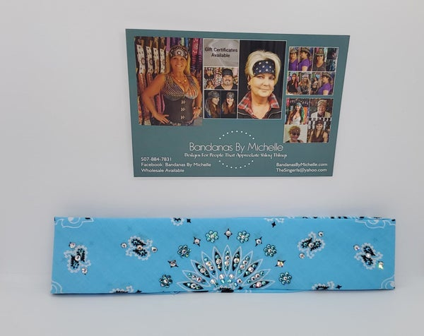 Narrow Baby Blue Paisley with Turquoise and Diamond Clear Swarovski Crystals (Sku2426)